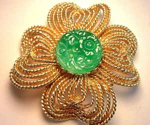 etsy, kenneth lane, and green glass brooch image