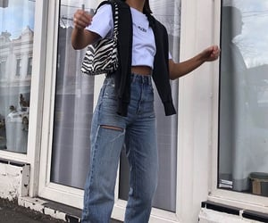 everyday look, zebra print bag, and white crop top image