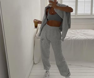 grey sweater, everyday look, and loungewear image