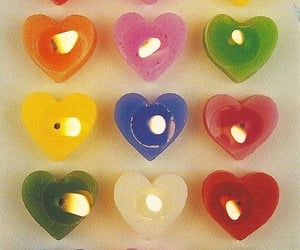 candle, heart, and hearts image