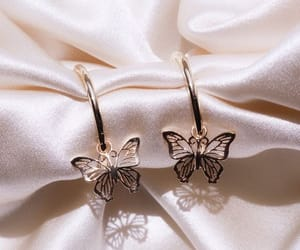 butterflies, earrings, and gold image