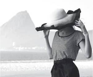 beach, black and white, and hat image