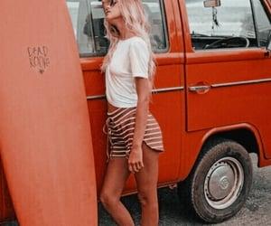 girl, orange, and surfboard image
