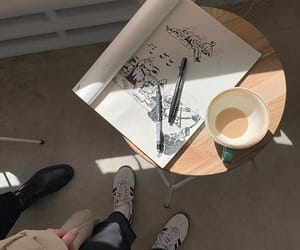 coffee, sketchbook, and aesthetic image