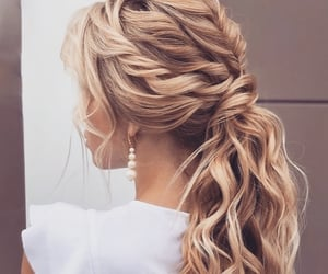 blonde, braid, and waves image