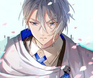 anime, sakura petals, and touken ranbu image
