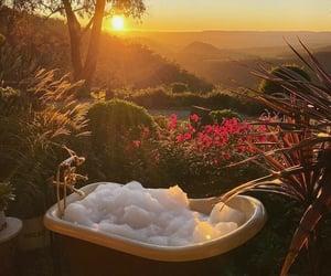 bath, bubble bath, and garden image