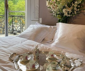bed, nice things, and tea set image