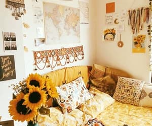 bedroom, home, and yellow image