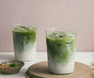 matcha, drink, and milk image