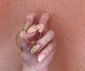 gold, gold nails, and nails image