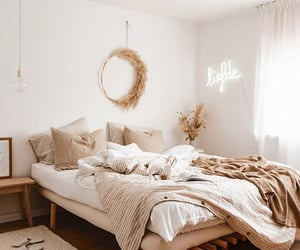 bed, bedroom, and beige image