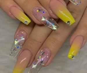 long nails, nails, and yellow nails image