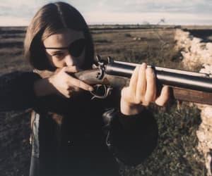 girl, gun, and nature image