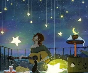 nightsky, guitar, and stars image