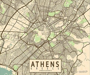 Athens, city, and map image