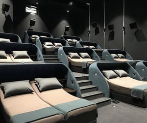 bed, cinema, and home design image