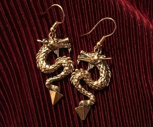 dragon, earrings, and red image
