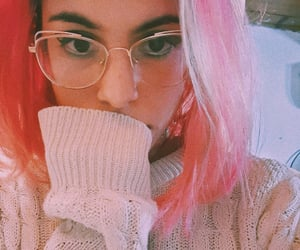 girl, glasses, and pink image