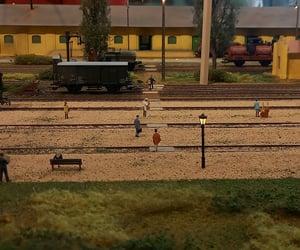 miniature, trainstation, and people image