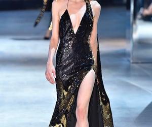 black dress, fashion show, and winter image