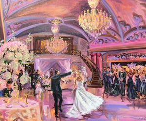art, bride and groom, and painting image