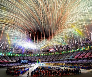 fireworks, olympics, and london 2012 image