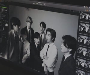 bts, black and white, and kpop image