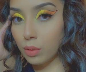 beauty, eyeshadow, and yellow and orange image