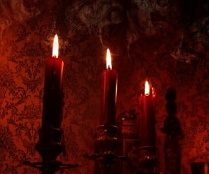 candle, red, and goth image