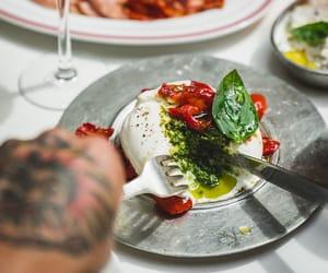 pesto, italian food, and burrata cheese image