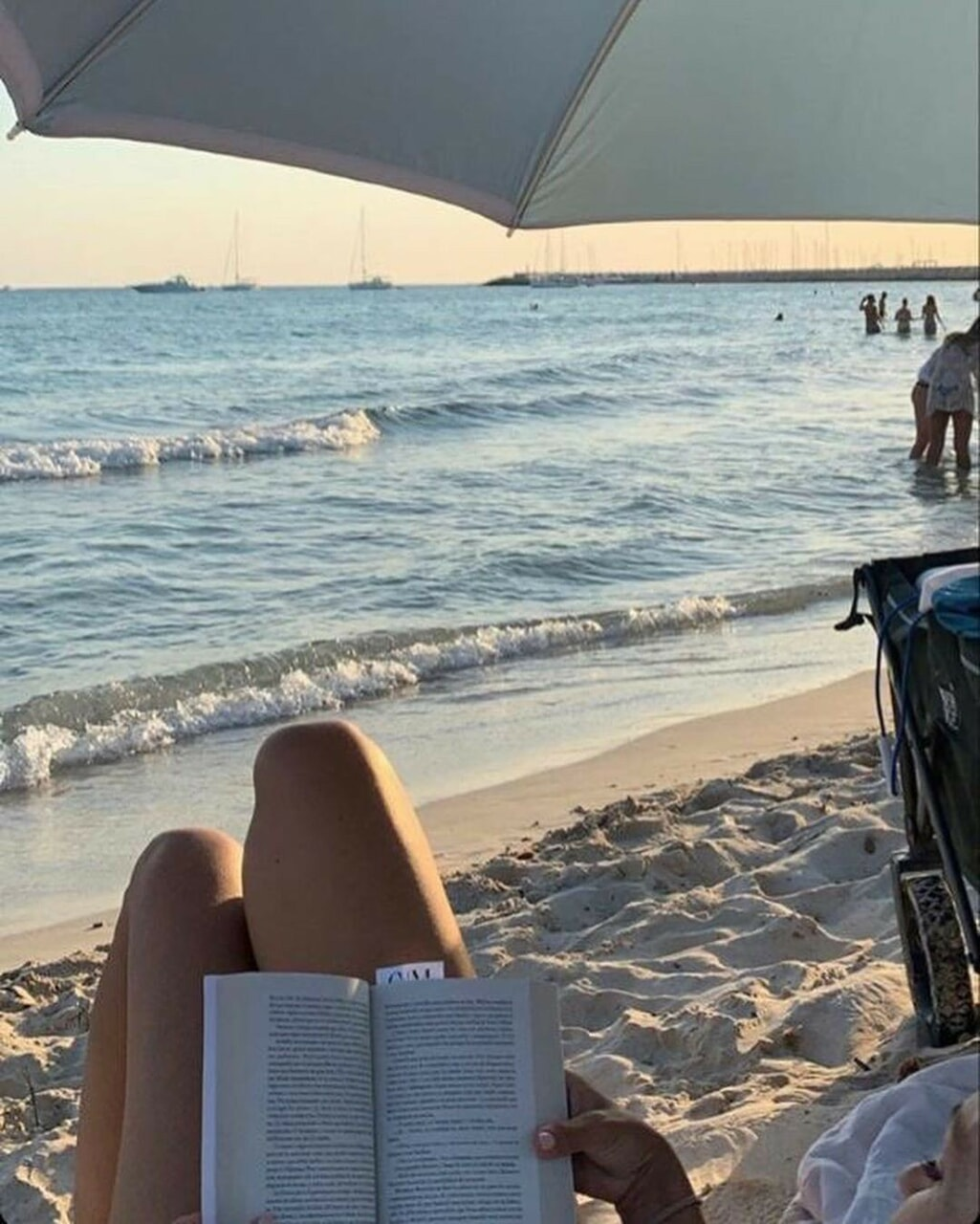 beach day, books, and sunset image