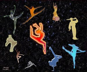 dancer, dancing, and planets image