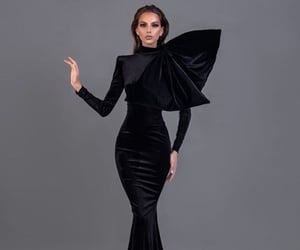 dress, blackdress, and Couture image