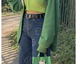 green, indie, and outfit image