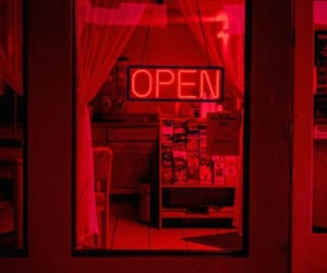 red, neon, and open image