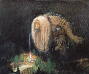 forest, John Bauer, and forest troll image