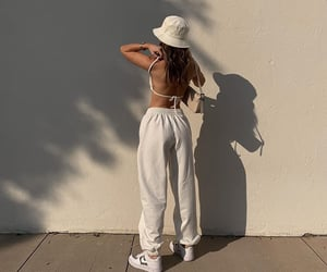 streetwear, backless top, and white crop top image