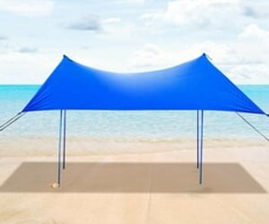 beach, canopy, and tent image