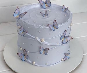 cake, butterfly, and food image