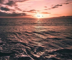 wallpaper, sea, and sunset image