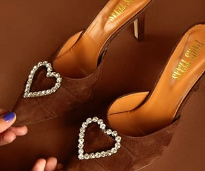 shoes, brown, and hearts image