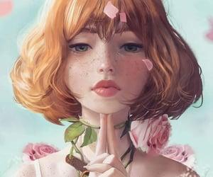 digital art, flower, and girl image