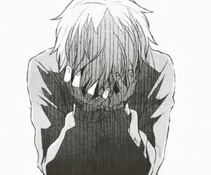 anime, black and white, and sad image