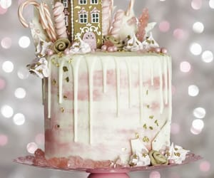 cake, pink, and christmas image