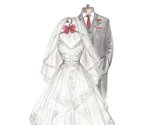 anniversary gift and wedding dress sketch image