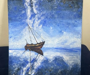 art, blue, and boat image