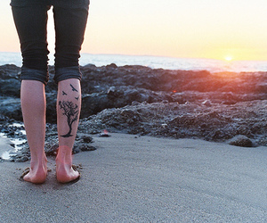 tattoo, beach, and tree image