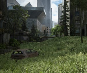 city, grass, and ruins image