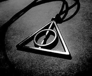 black and white, dark, and deathly hallows image